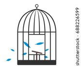 bird escaped from the cage... | Shutterstock .eps vector #688226599