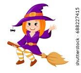halloween witch flying on broom | Shutterstock .eps vector #688227415