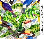 sky bird toucan pattern in a...   Shutterstock . vector #688228687