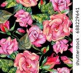 wildflower rosa flower  pattern ... | Shutterstock . vector #688229641