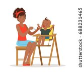 happy young african mother... | Shutterstock .eps vector #688231465