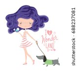 cute girl with dog.love cards... | Shutterstock .eps vector #688237081