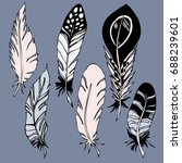 set with feathers in boho style.... | Shutterstock .eps vector #688239601