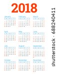 calendar for 2018 year on white ... | Shutterstock .eps vector #688240411