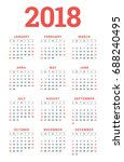 calendar for 2018 year on white ... | Shutterstock .eps vector #688240495