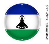 round metallic flag of lesotho... | Shutterstock .eps vector #688242271