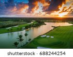 aerial view of tropical golf... | Shutterstock . vector #688244254