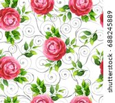 camellia flowers and leaves on... | Shutterstock . vector #688245889