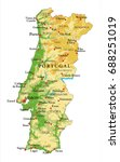 portugal relief map   Shutterstock .eps vector #688251019