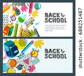 set of vector back to school... | Shutterstock .eps vector #688251487