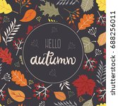 hello autumn greeting card with ... | Shutterstock .eps vector #688256011