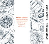 middle eastern cuisine top view.... | Shutterstock .eps vector #688267855
