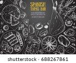 spanish cuisine top view frame. ... | Shutterstock .eps vector #688267861