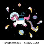 cute unicorn in the universe... | Shutterstock .eps vector #688272655
