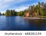wooden bathing bridges in the... | Shutterstock . vector #688281154