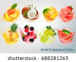 set of fruit juice splash .... | Shutterstock .eps vector #688281265