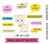 cute cartoon cat speech bubble... | Shutterstock .eps vector #688287811