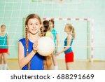 teen girl with volleyball ball... | Shutterstock . vector #688291669