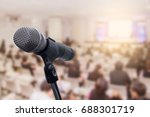 microphone over the blurred... | Shutterstock . vector #688301719