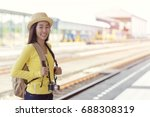 young asian woman smiling and... | Shutterstock . vector #688308319