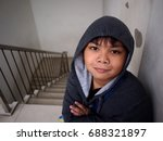 portrait of a young boy wearing ... | Shutterstock . vector #688321897
