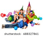 birthday child clown playing... | Shutterstock . vector #688327861