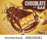 sweet chocolate bar with nuts... | Shutterstock .eps vector #688330081