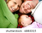young family lying on picnic... | Shutterstock . vector #6883315