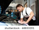 handsome mechanic based on car... | Shutterstock . vector #68833201