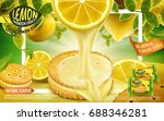 lemon sandwich cookies ad ... | Shutterstock .eps vector #688346281