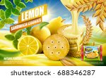 lemon sandwich cookies ad with... | Shutterstock .eps vector #688346287