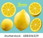 realistic lemon elements ... | Shutterstock .eps vector #688346329