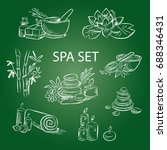 hand drawn set of spa... | Shutterstock .eps vector #688346431