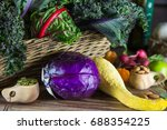fresh local  vegetables on a... | Shutterstock . vector #688354225