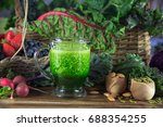 green kale and spinach juice... | Shutterstock . vector #688354255