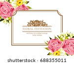 invitation with floral... | Shutterstock . vector #688355011
