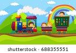 children riding on train... | Shutterstock .eps vector #688355551