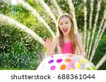 adorable little girl playing... | Shutterstock . vector #688361044