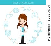woman doctor with human... | Shutterstock .eps vector #688364704