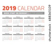 modern calendar 2019 start on... | Shutterstock .eps vector #688365109