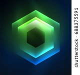 techno glowing glass hexagons... | Shutterstock .eps vector #688375591