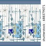 seamless border for textile... | Shutterstock . vector #688379071
