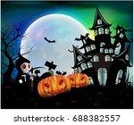 happy halloween background with ... | Shutterstock .eps vector #688382557