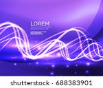 glowing shiny wave background ... | Shutterstock . vector #688383901