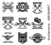 set of auto service emblems.... | Shutterstock .eps vector #688384897