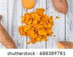 sweet potato chips as high... | Shutterstock . vector #688389781