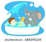 Little Cute Boy  Take A Bath...
