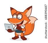 geek fox holding a laptop | Shutterstock .eps vector #688390687