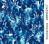tropical palm leaves background.... | Shutterstock .eps vector #688403917