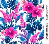 tropical leaves and flowers... | Shutterstock .eps vector #688403944